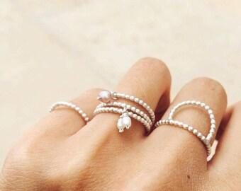 Set de bagues argent, stacking rings silver avec perle