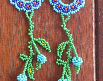 Handmade Blue/Red Flower Huichol earrings