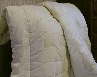 240 - READY to SHIP - Cream-on-Cream Comforter, XL Twin