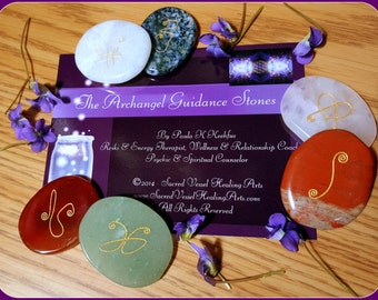 Engraved Archangel Guidance Stones Set of 6 Mixed Gem ~ Exclusive