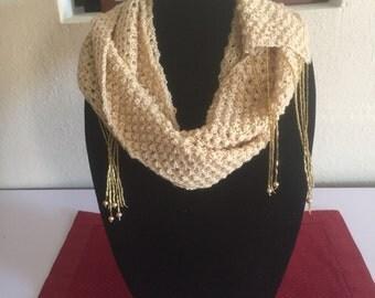 Handmade Gold Crochet Beaded Scarf