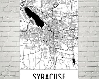 Syracuse Map, Syracuse Art, Syracuse Print, Syracuse NY Poster, Syracuse Wall Art, Syracuse Gift, Map of Syracuse, Syracuse Decor, Modern