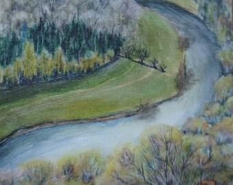 "Original watercolour landscape ""Autumn at Wye Valley"""