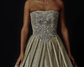 Gold wedding dress etsy gold and silver glitter ball gown with crystal bodice junglespirit Images
