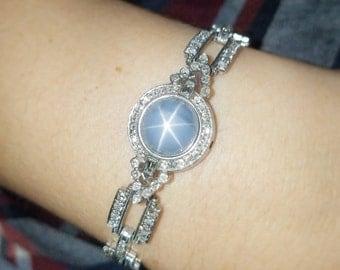 Platinum 1930s Art Deco Star Sapphire Diamond Bracelet Vintage Antique