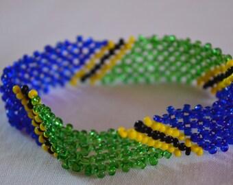 Tanzania Flag Bracelet | Maasai beaded bracelets | Flag of Tanzania | Tanzanian flag wrist band.