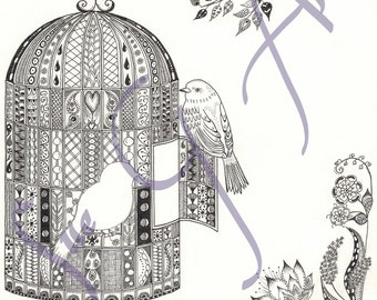 Free as a Bird Zentangle Art Print