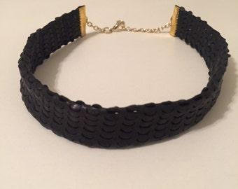 Black Genuine Leather Choker