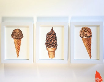 Chocolate Ice Cream Original Artwork Set