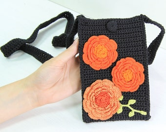 Crochet Hippie Purse / Small Knitted Crossbody Bag for Big Cell Phones / Black Bohemian Chic Bag with Orange Poppy Flowers / Boho Xbody Bag