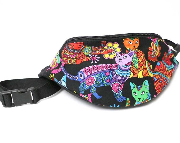 Fanny pack Colorful Cat fabric  - Hip Waist Bag with 2-zippered compartments