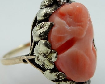 14k Gold Victorian Carved Coral and Diamond Cameo Ring