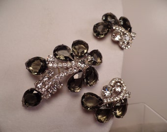 1950's Unsigned Set with Grey Stones and Rhinestones
