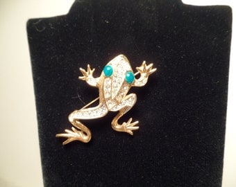 """Sarah Coventry Ultra Fashion Collection """"Golden Ice"""" Frog Brooch-c.1969"""