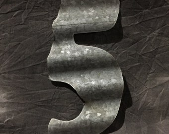 5 - Recycled Antique Roofing Tin Number by JunkFX