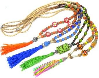 Wholesale Tassel Necklaces/ Holiday Gift Pack Beaded Boho Jewelry/ Bulk Order of Wooden Mala Jewelry/Meditation Prayer Beads