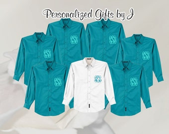 Monogrammed Oversized Bridal Party Shirt Set of 11 Personalized Button Down Shirt, Bridesmaids Gift, Bachelorette Party, Wedding Day Shirt