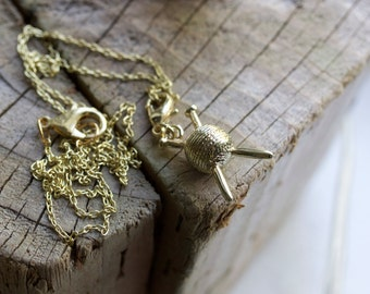 Golden Knitting Charm Necklace | Ball of Yarn with Knitting Needles