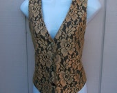 Vintage Metallic Gold Lace Vest with Black Tie Back / 80s to 90s waistcoat vest by Sophisticates // size Sml