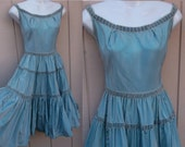 "50s Vintage Emma Domb Perwinkle Blue Taffeta Party Dress / Wide neck and tiered skirt Rockabilly Swing Frock / Size Sml - 26"" Waist"