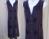 90s Vintage Purple India Embroidered Midi Tie-Back Dress / Hippie Ethnic Boho Festival Rayon Sundress // Med - Lge