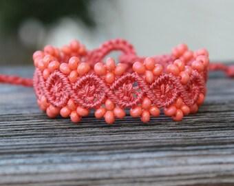 Micro-Macrame Beaded Bracelet - Peach