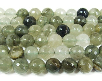 Green Rutilated Quartz Faceted Gemstone Beads