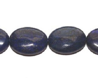 Lapis (Color-Enhanced) Puffed Oval Gemstone Beads