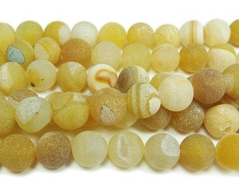 Yellow Matte Druzy Agate Round Gemstone Beads