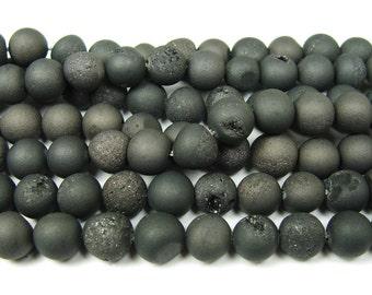 Black Electroplated Druzy Agate Round Gemstone Beads