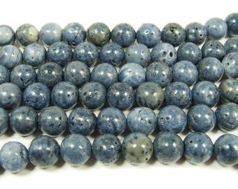 Natural Blue Sponge Coral Round Gemstone Beads