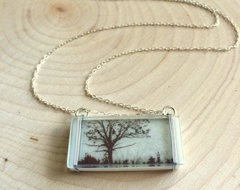 Small Friendship Road, Glass Necklace, Tree Necklace, Photo Necklace, Photo Jewelry