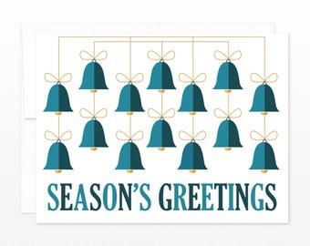 Seasons Greetings Card - Holiday Bells Greeting Card - Christmas Card - Xmas Card - Mid Century Christmas Card, Traditional Holiday