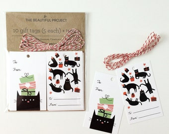 Cat Gift Tags Set - Birthday Gift Tags - 2 Designs - Pack of 10 & Twine, Cute Cat Gift Tags, Gift for Friends, Cat Lover's Gift, Cute Gift