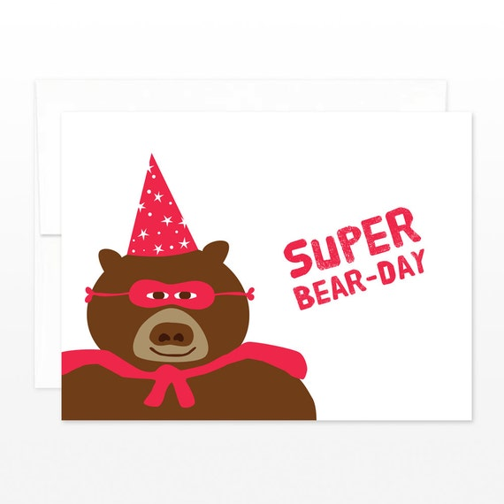 Happy Birthday Card - Super Hero Wizard Hat Bear - Super Bear Day