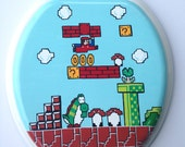 Mario Hand Painted Toilet Seat & Inside Lid PLAYER ONE UP Nintendo 8 Bit Geekery Video Game Arcade Dad Grad Gift