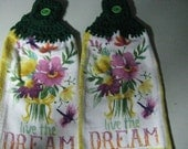 LIve the Dream Bouquet  - Set of Two Hand Crocheted Kitchen Top Towels