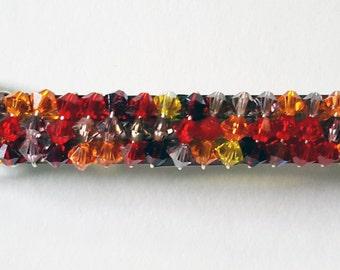 Swarovski Crystal  Barrette, Hair Jewelry, Red, Orange,Yellow