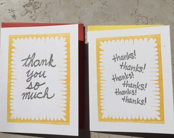 Free Shipping- Two letterpress thank you cards