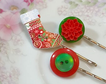 Christmas Bobby Pins, Colorful Stocking, Red Chrysanthemum in Green, Vintage Buttons, Hair Pins by KreatedbyKelly