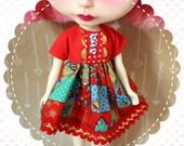 I Love Christmas / One-of-a-Kind Doll Dress for Blythe