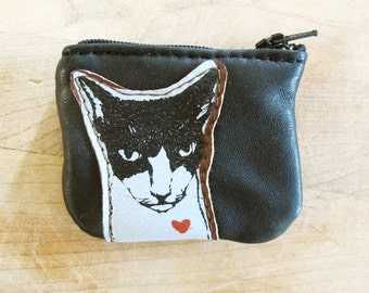 Mean Cat Leather Coin Purse