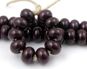438 Red Purple Burgundy Spacers - Handmade Lampwork Glass Beads - 5mmx9mm SRA (Set of 10 Spacer Beads)