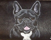 French Bulldog Custom Painted Faux Ladies Leather Wallet