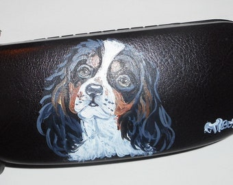 King Charles Cavalier Spaniel Dog  Hand Painted Eyeglass Case Sunglass Case Vegan