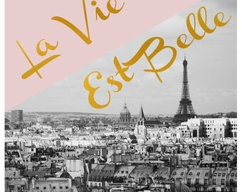 French Art - Paris Photography - Fine Art Photograph - Typography - La Vie Est Belle - Pink - Gold - Black and White - Alicia Bock - Quote