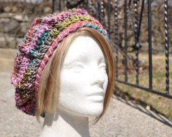 Crocheted Beret - Women's Hat - Pink Multicolored Hat - Winter Accessories - Crochet Hat