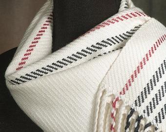 Handwoven merino wool winter white scarf
