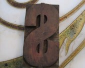 Antique Letterpress Wood Type Printers Block Dollar Sign