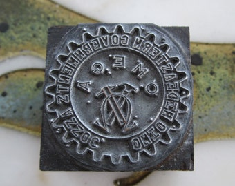 OMEGA Vintage Letterpress Printers Block Ohio Mid-Eastern Governments Association